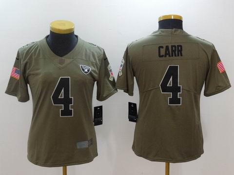 women Nike nfl Raiders #4 CARR Olive Salute To Service Limited Jersey
