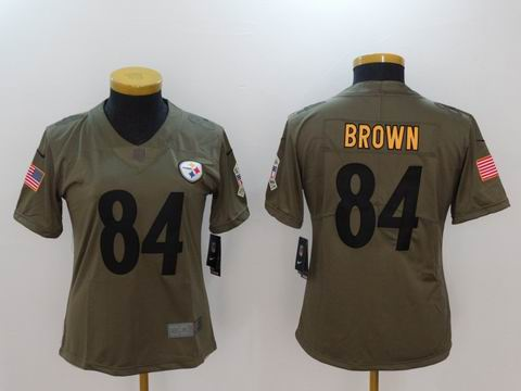women Nike nfl Steelers #84 Brown Olive Salute To Service Limited Jersey