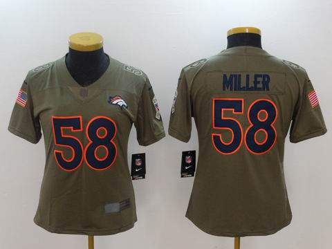 women Nike nfl broncos #58 Miller Olive Salute To Service Limited Jersey