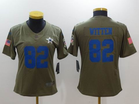 women Nike nfl cowboys #82 Witten Olive Salute To Service Limited Jersey