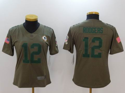 women Nike nfl packers #12 Rodgers Olive Salute To Service Limited Jersey