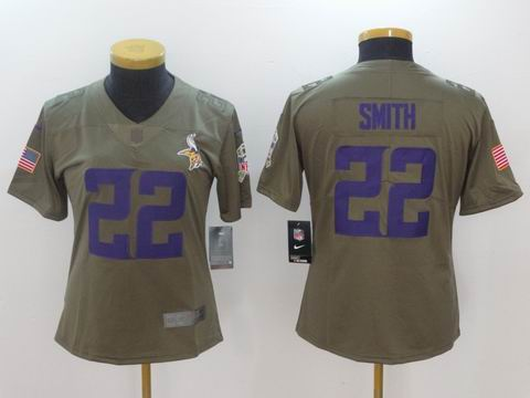 women Nike nfl vikings #22 Smith Olive Salute To Service Limited Jersey