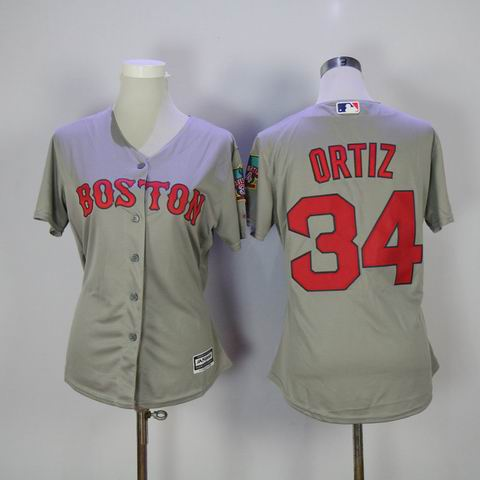 women mlb Boston Red Sox #34 David Ortiz grey jersey