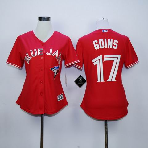 women mlb Toronto Blue Jays #17 Goins red jersey