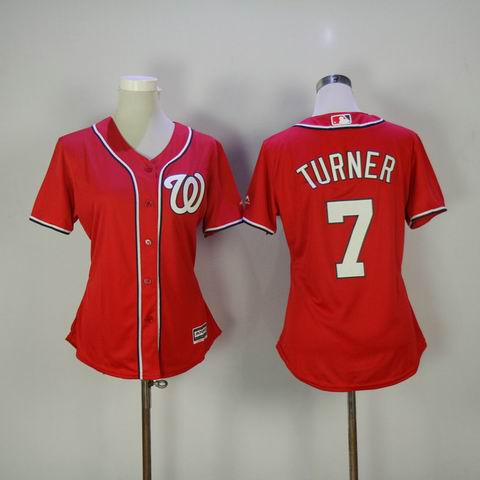women mlb Washington Nationals #7 Turner red jersey
