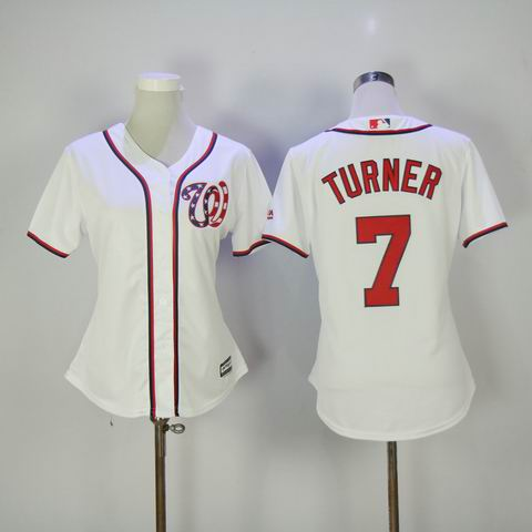 women mlb Washington Nationals #7 Turner white jersey