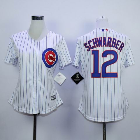 women mlb chicago cubs #12 Schwarber white jersey