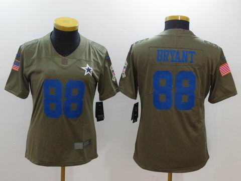 women nike nfl cowboys #88 BRYANT Olive Salute To Service Limited Jersey