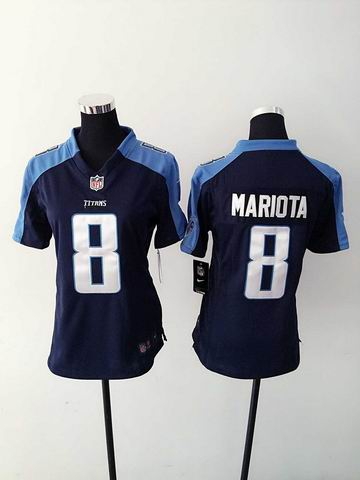 women nike nfl titans 8 mariota blue limited jersey