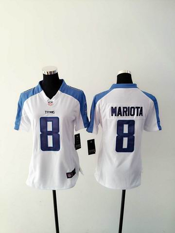 women nike nfl titans 8 mariota white limited jersey